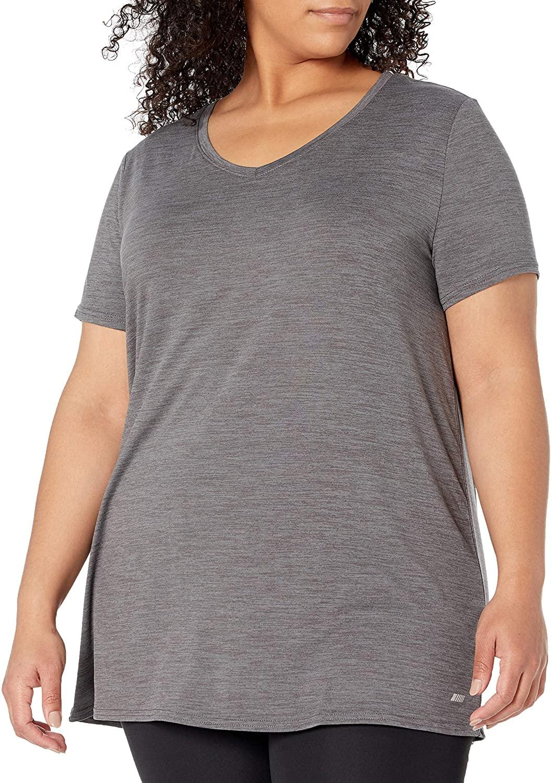 Essentials Womens Plus Size Tech Stretch Short Sleeve V-Neck T-Shirt