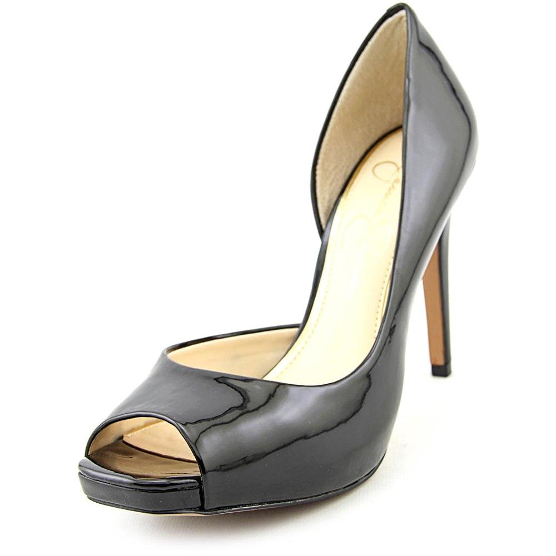 Jaselle Women Peep-Toe Pumps Black Patent Size 6.5