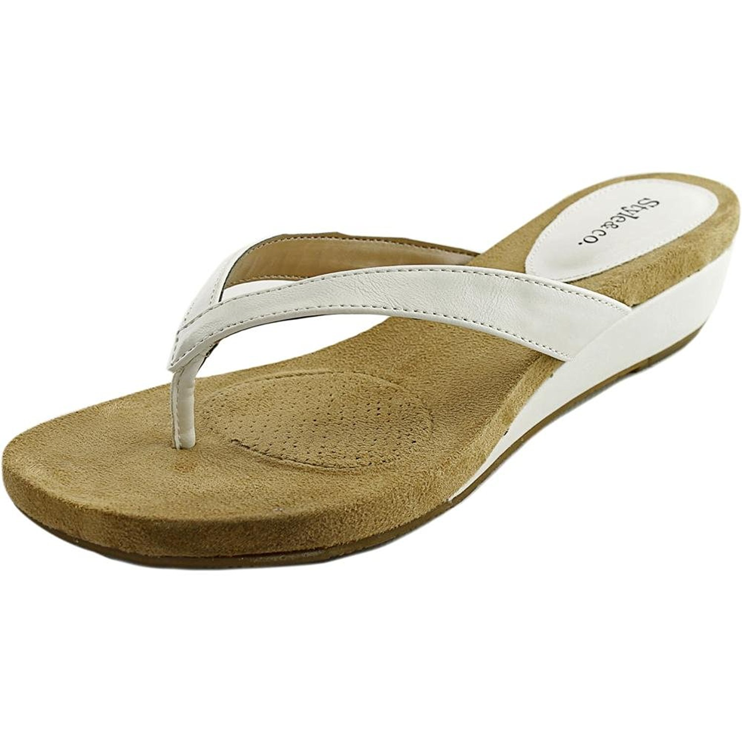 Style Co Womens Haloe Split Toe Casual Slide Sandals White Size 80