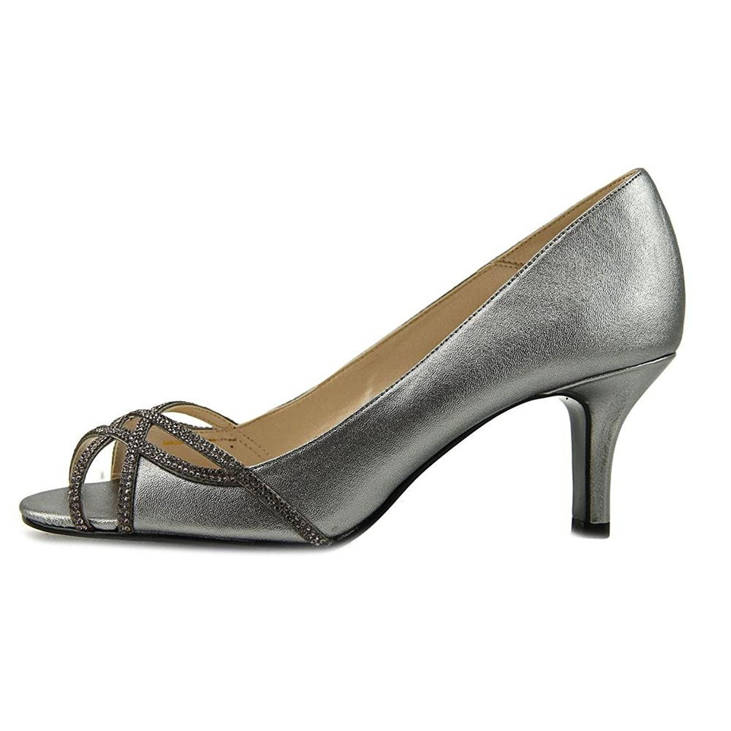 2e35c34df4 Caparros Womens Eliza Peep Toe Classic Pumps, Pewter Metallic, Size ...