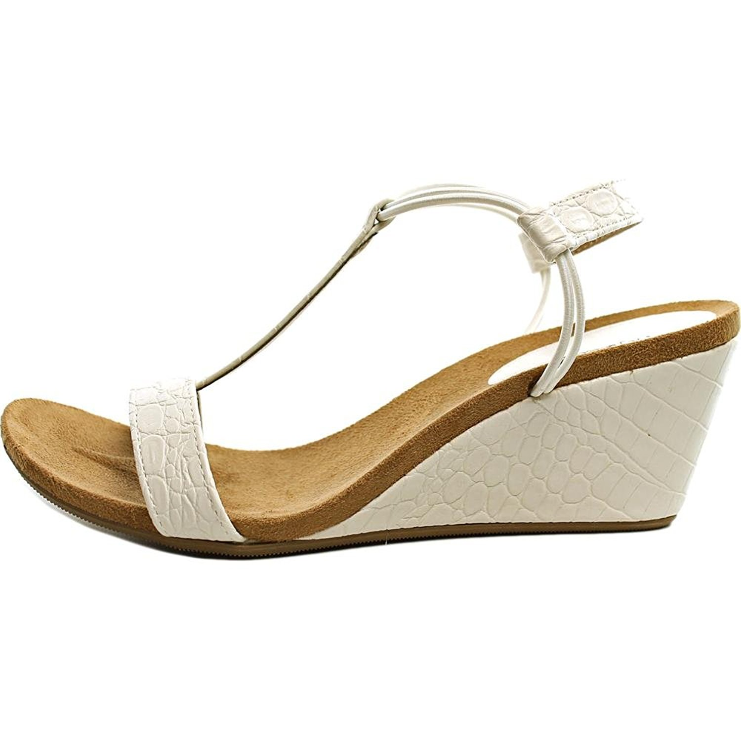 Style Co Womens Mulan Open Toe Casual Platform Sandals White Snake Size 90