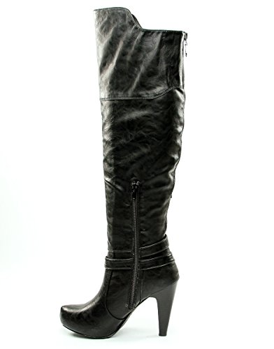 GUESS Womens Trinna Closed Boots Toe Knee High Fashion Boots Closed Black Size 9.0 YF1S 25f1cb