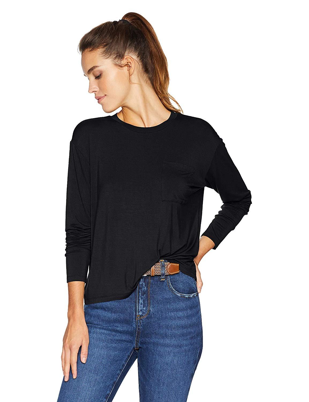 Size Small Black Brand Daily Ritual Women/'s Jersey Long-Sleeve Boxy
