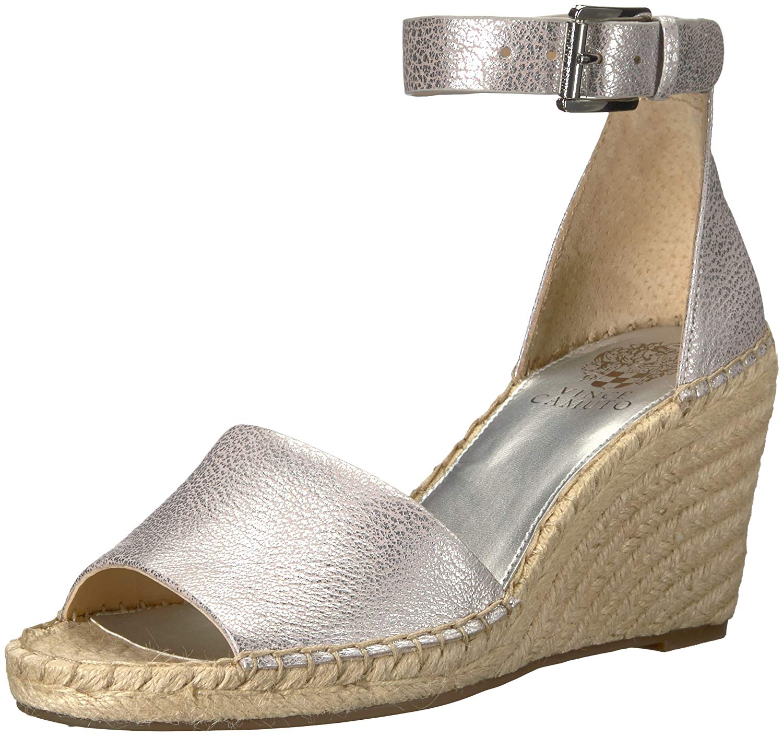 c5083eb39ec Details about Vince Camuto Women's Leera Espadrille Wedge Sandal, Metal  Silver, Size 8.5 qglY