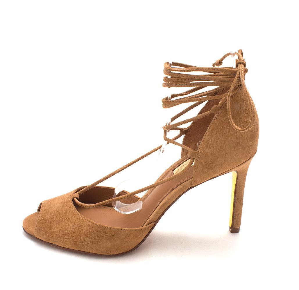 LAUREN by Ralph Lauren Womens Linden Leather Peep Toe Ankle Camel Size 9.0