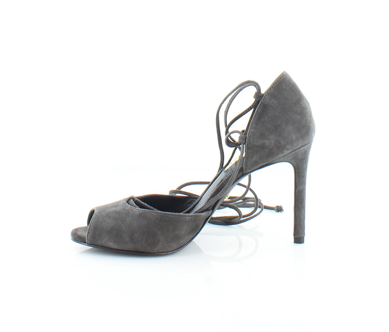LAUREN by Ralph Lauren Womens Linden Leather Peep Toe Ankle Charcoal Size 11.0