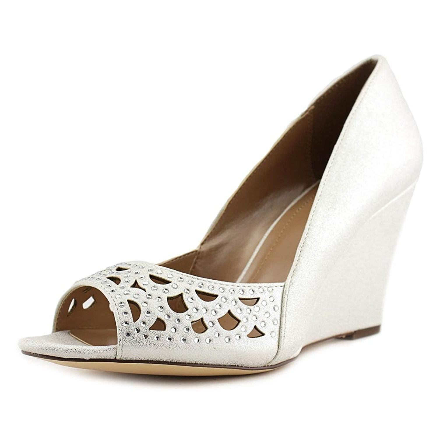 Style Co. Womens Cathiee Open Toe Wedge Pumps White Size 8.0