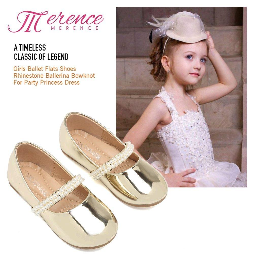 CIOR Toddler Girls Ballet Flats Shoes Ballerina Bowknot Jane Mary Wedding Party Princess Dress