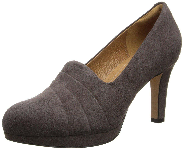 CLARKS Womens Delsie Joy Suede Closed Toe Platform Pumps, Brown, Size 8.5  ZvRt