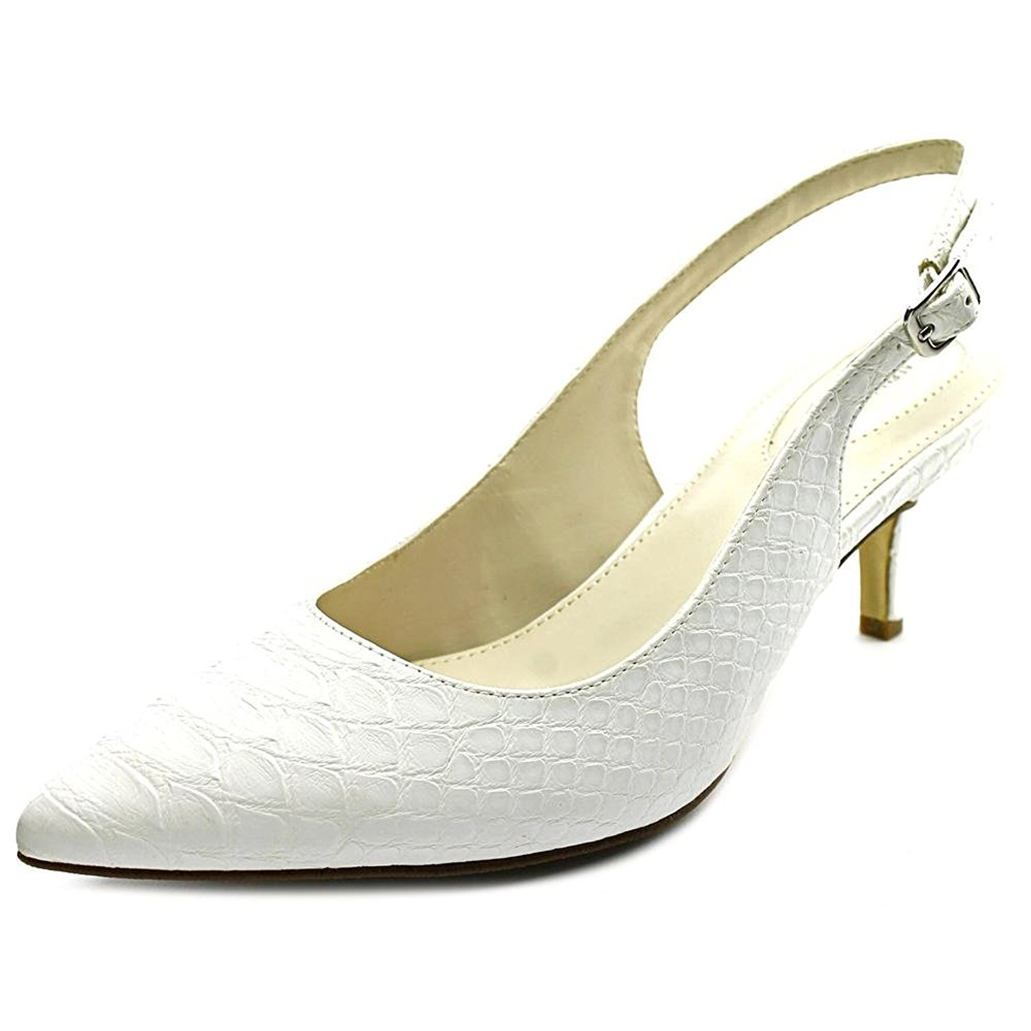 89ee22e8e116a Details about Alfani Womens Babbsy Pointed Toe SlingBack Classic Pumps,  White, Size 8.0 NW9H