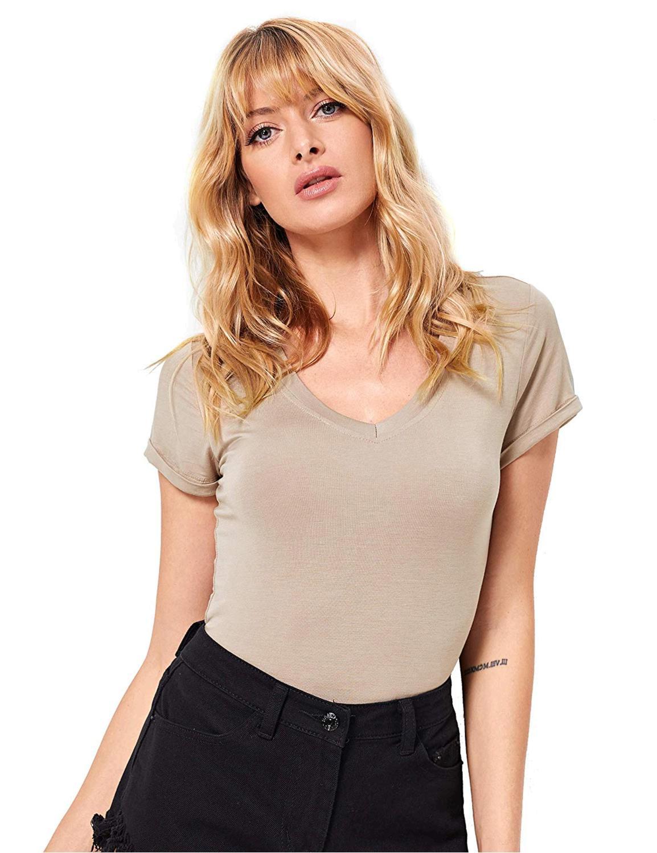 MAKEMECHIC Women's Short Sleeve Tops Basic V-Neck Leotard ...