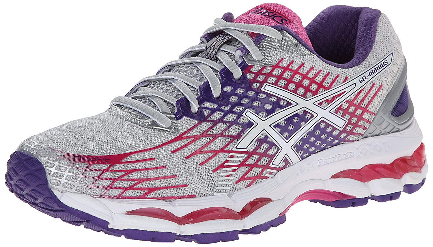 ASICS Womens Gel Nimbus Low Top Lace Up Lightning/White/Hot Pink Size 6.0 ObEY