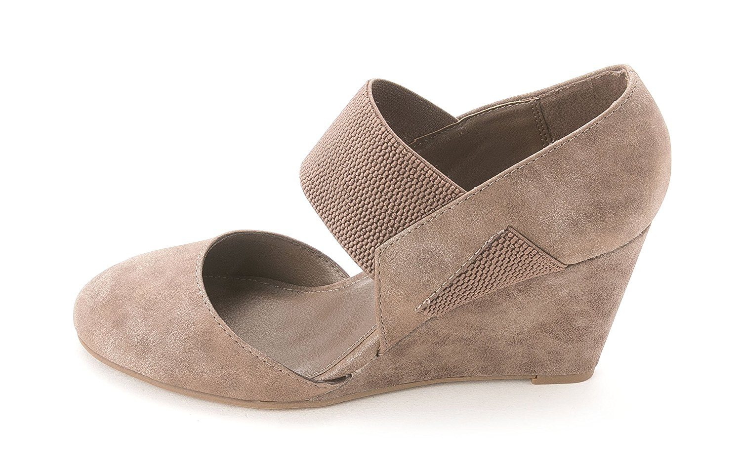 Unlisted Womens Big Bold Closed Toe Ankle Strap Wedge Pumps Taupe Size 8.5 b