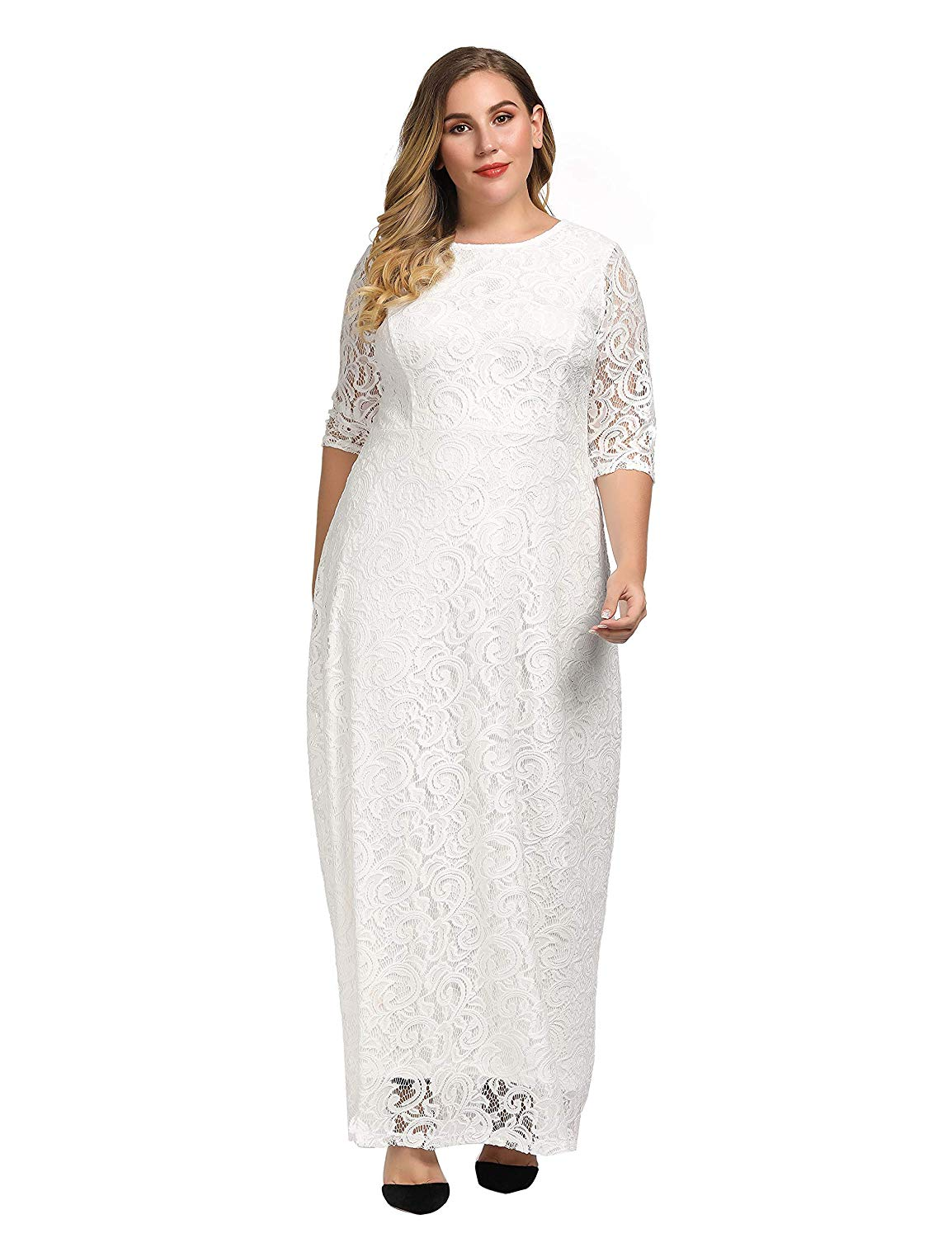 Details about Chicwe Women\'s Plus Size Stretch Lace Maxi Dress -, White  Ivory, Size 4.0