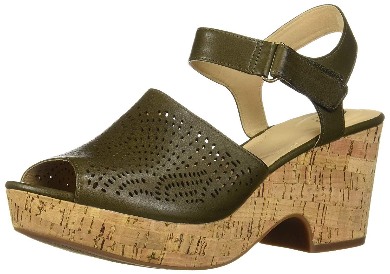 Details about Clarks Women Maritsa Nila Peep Toe Casual Leather Platform Sandals Brown Size show original title