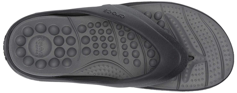 dbf3aeb19cedf Details about Crocs Men's Reviva Flip Flop, Black/Slate Grey, Size 10.0