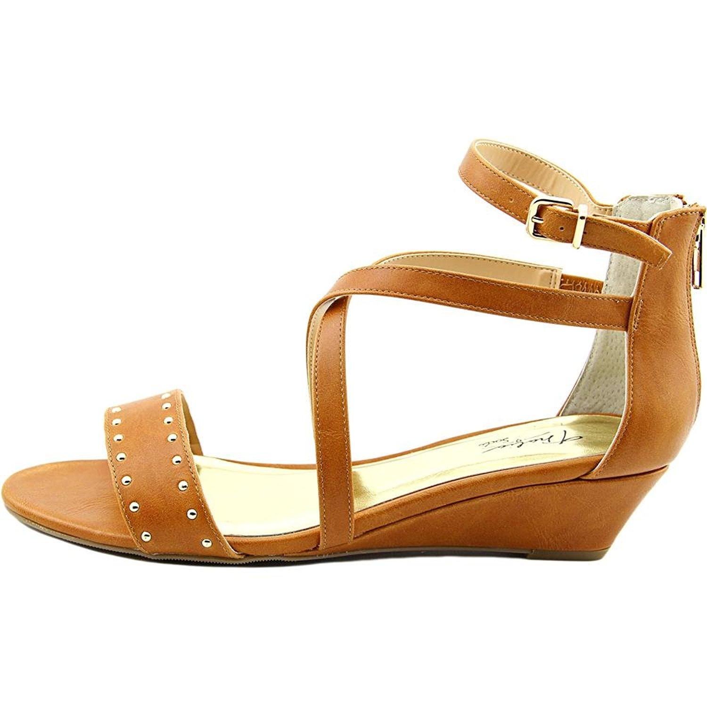 Thalia Sodi Womens Pia Open Toe Ankle Strap Wedge Pumps cognac Size 5.0