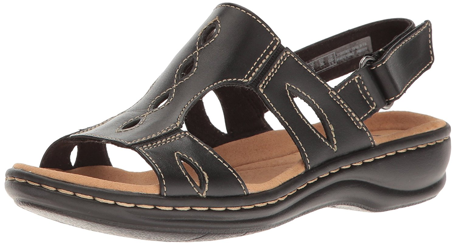 Clarks Womens US Flat Sandals Black Leather 9  US Womens / 7 UK f8d6e1