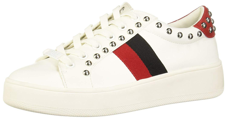 Steve Madden Women's Belle Sneaker, White Multi, Size 8.5 Veum