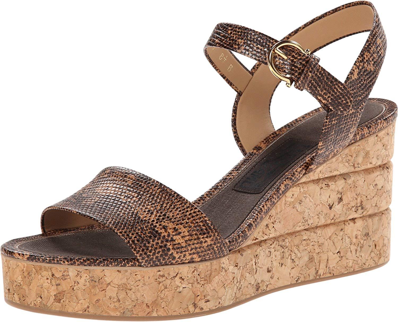 fa798034b68 Salvatore Ferragamo Madea Womens Platform Sandals Sienne Lizard Calf 10 US    8
