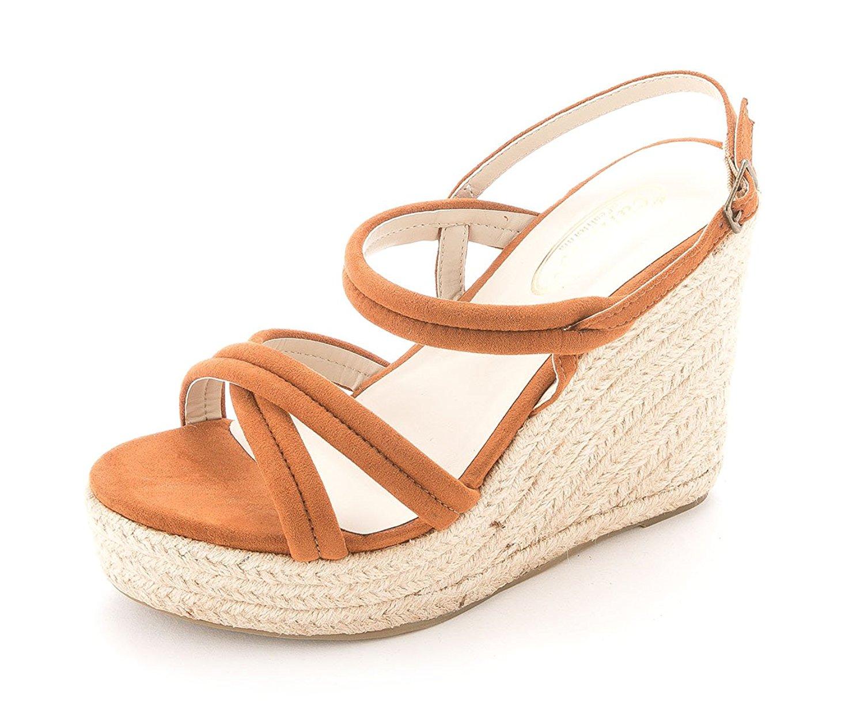 Callisto Womens JANN Suede Open Toe Ankle Strap Wedge COGNAC LEATHER Size 7.0