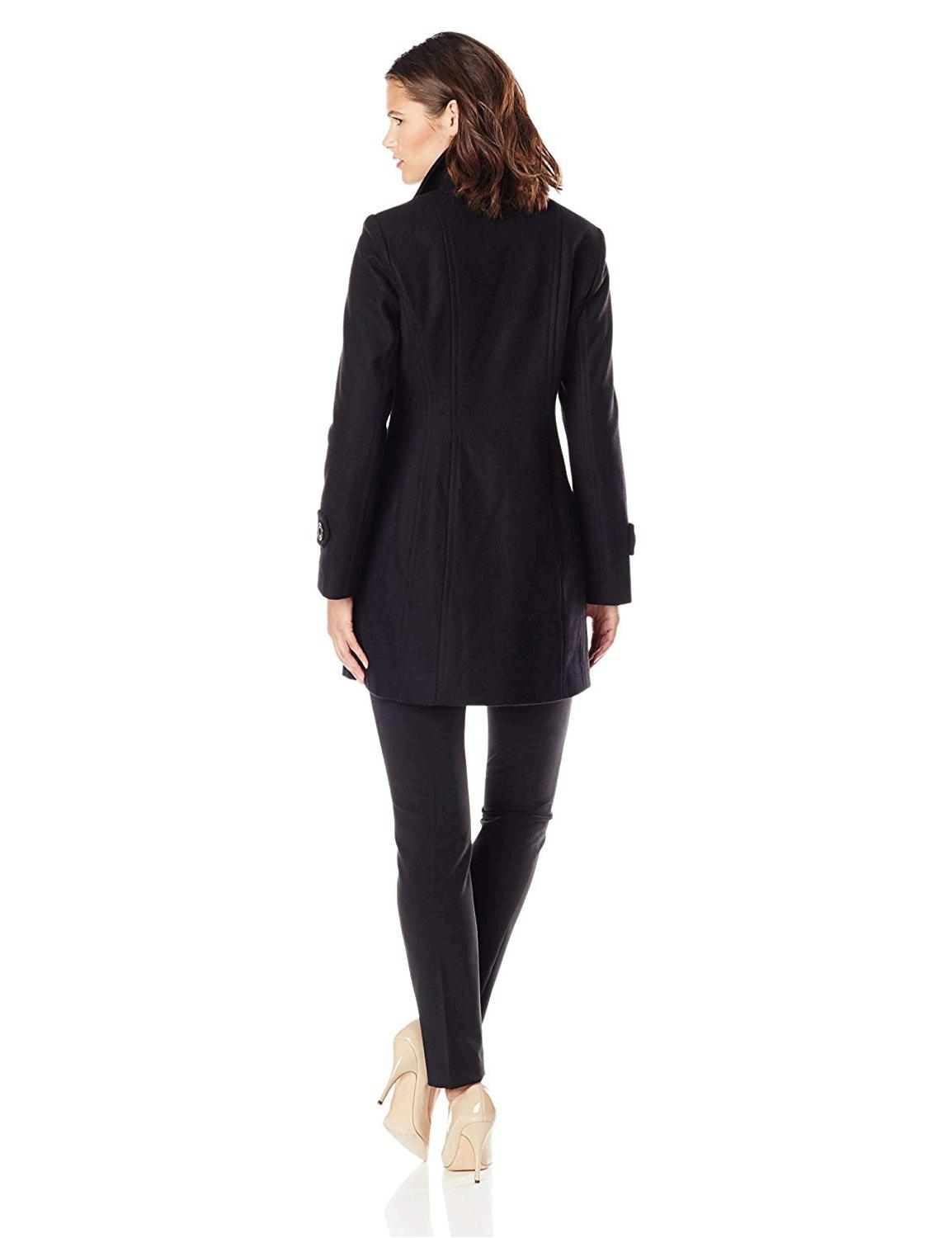 Anne Klein Women's Classic Double Breasted Wool Coat, Black,, Black, Size Small