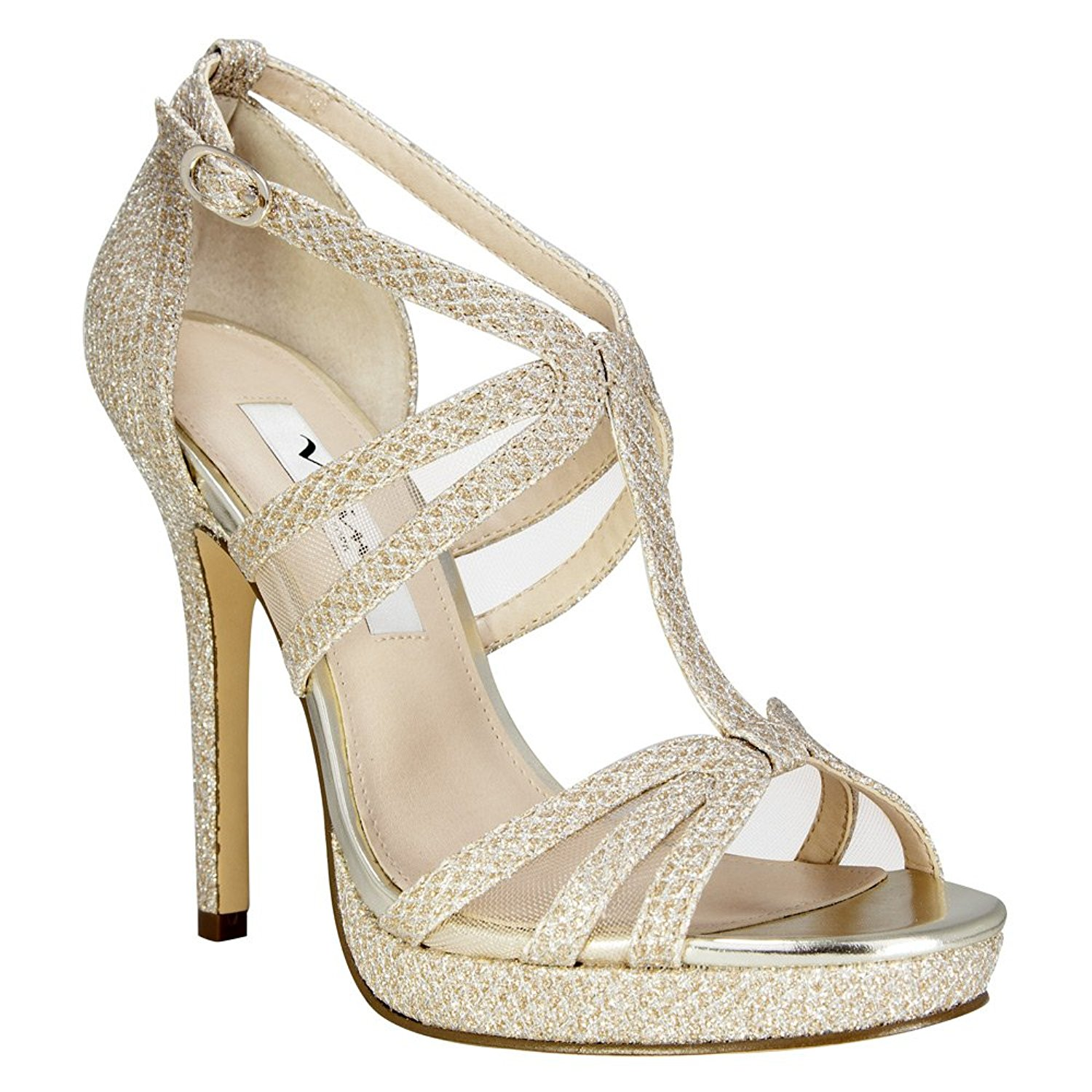 Nina Womens Cyprian Open Toe Ankle Strap Dorsay Pumps Ivory Satin Size 11.0 L
