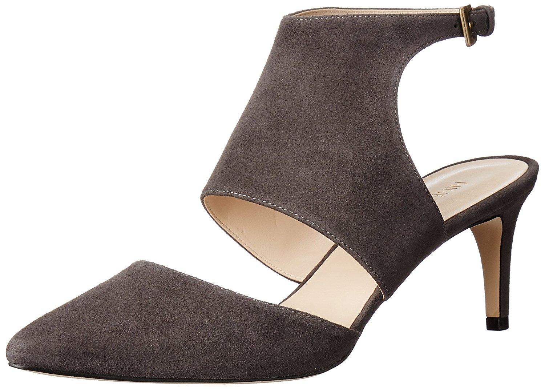 Nine West Womens Salinda Leather Pointed Toe SlingBack Dark Grey Size 6.5