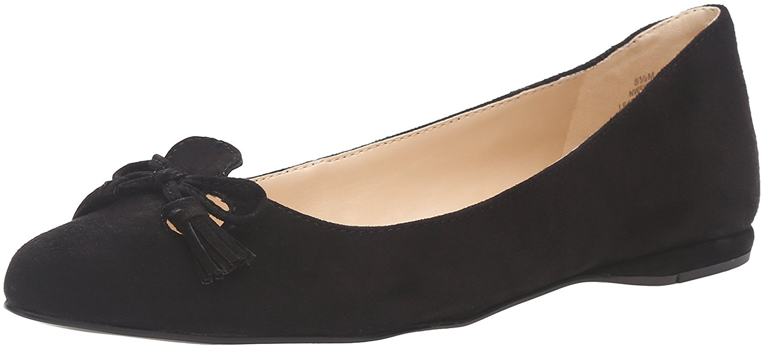 975a2a72a4c3 Details about Nine West Womens Simily Leather Pointed Toe Ballet Flats