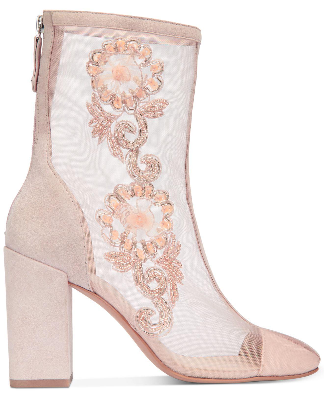 Avec Les Filles reagan Womens Boots pink mesh kid suede 10  US   8 UK