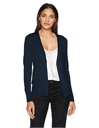 Essentials Women's Lightweight Vee Cardigan Sweater,, Navy,