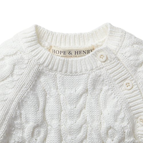 Hope & Henry Layette White Cable Knit Sweater Romper ...