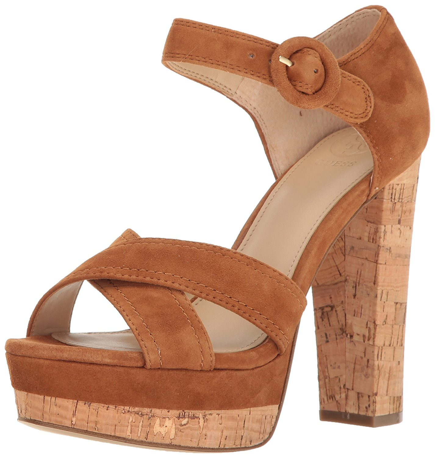 GUESS Womens Parris Suede Open Toe Casual Ankle Strap Sandals Cognac Size 5.5
