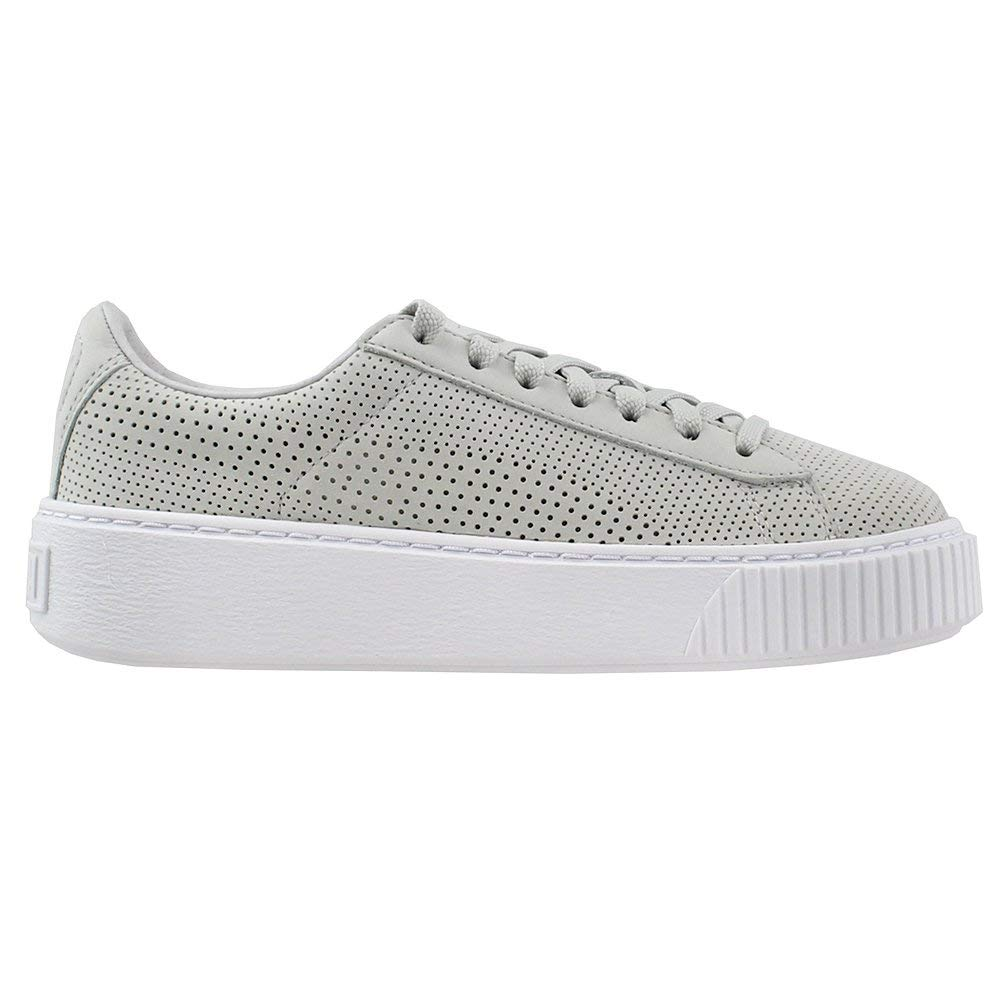 Details about PUMA Women's Basket Platform Perforated Sneakers, Grey, Size 7.0 US 5 UK