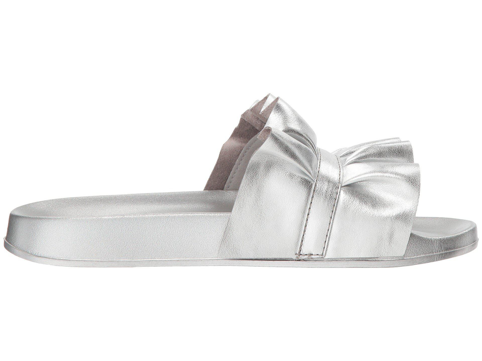 Michael Michael Kors BELLA SLIDE Womens Flat Sandals Metallic Pu 7 ... bf2570b5cc7