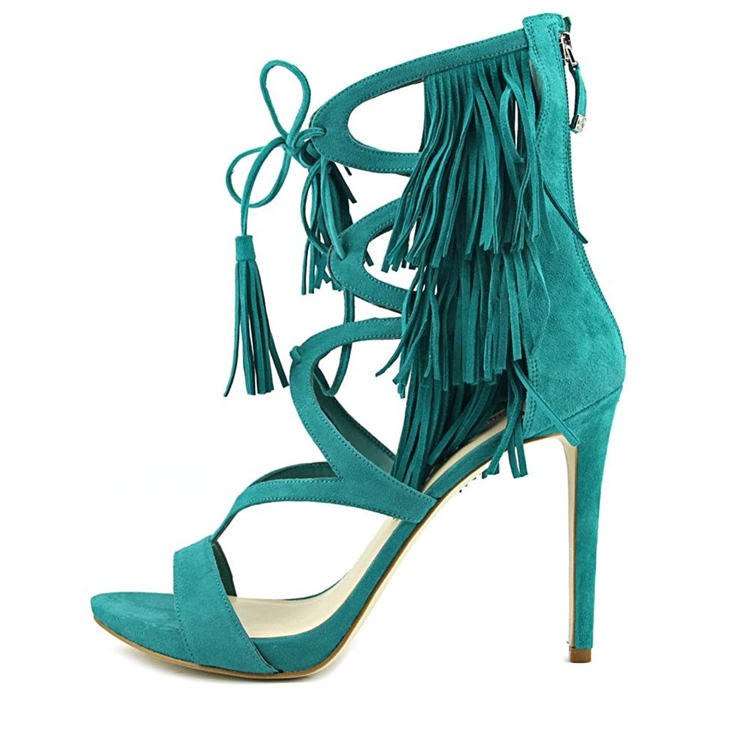 GUESS Womens Abria Open Toe Casual Ankle Strap Sandals Green Suede Size 5.5