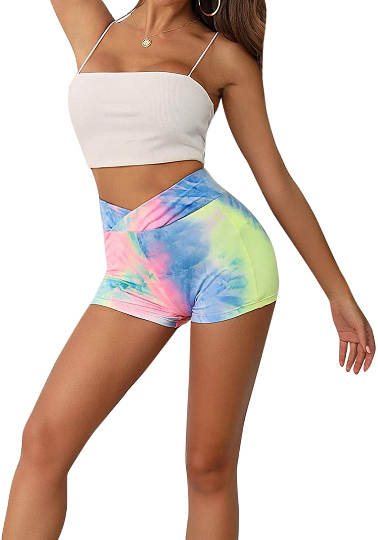 SweatyRocks Womens Stretch High Waist Workout Gym Short Leggings Tie Dye Biker Shorts