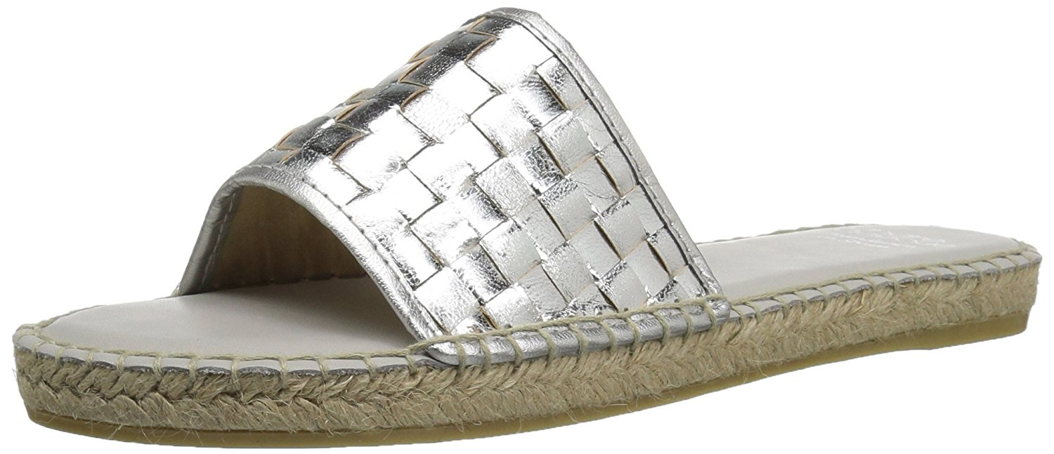 Andr Assous Womens Sari Leather Round Toe Beach Espadrille Silver Size 90 3
