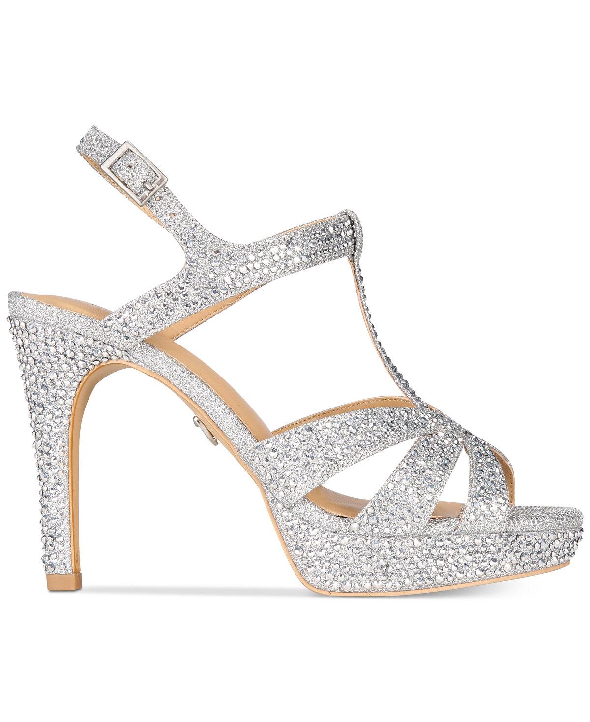 Thalia Sodi Womens Verrda Open Toe Special Occasion Slingback Silver Size 110