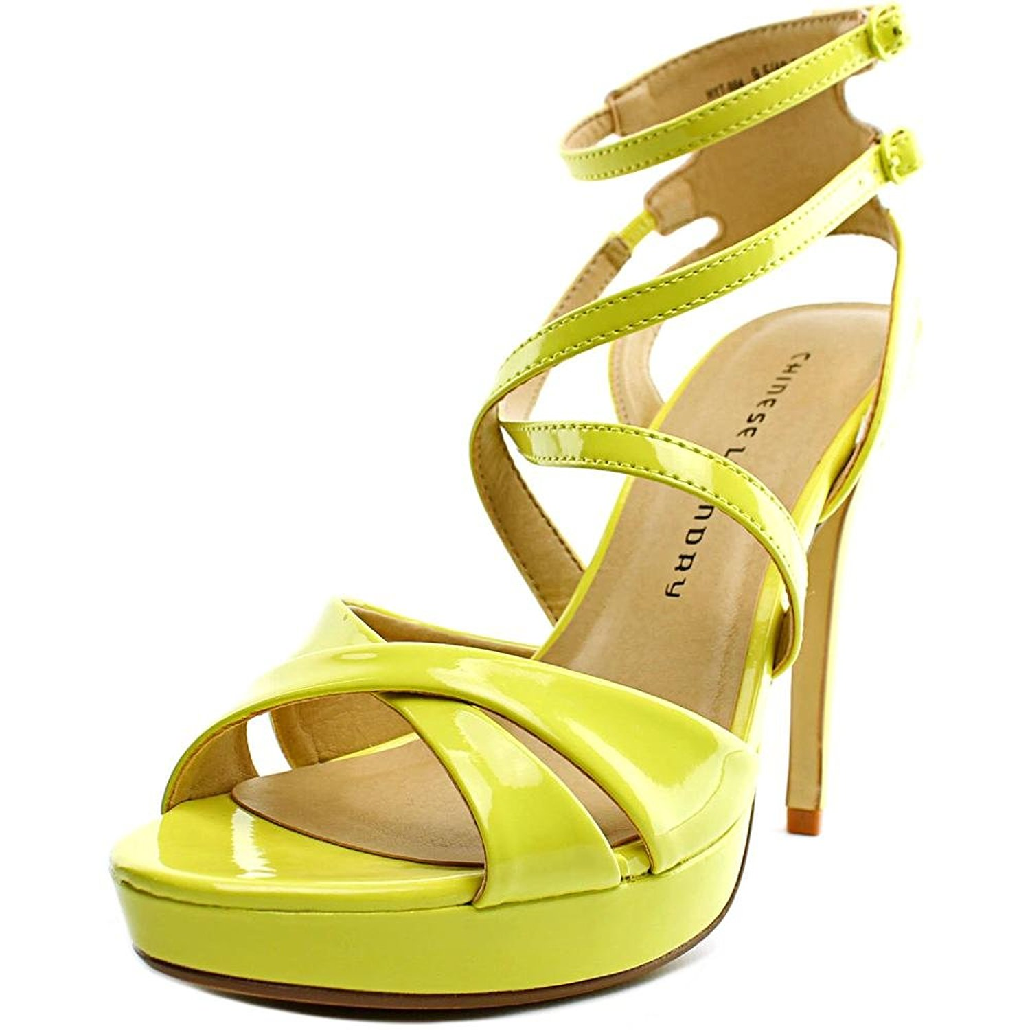 Chinese Laundry Womens HIghlight Open Toe Ankle Strap Platform Lemon Size 8.5