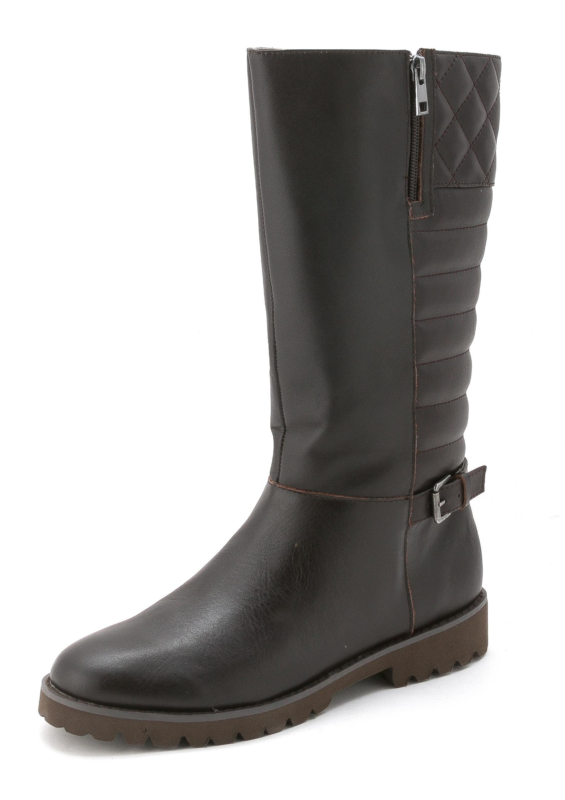Womens briano Leather Almond Toe Mid-Calf Fashion Boots