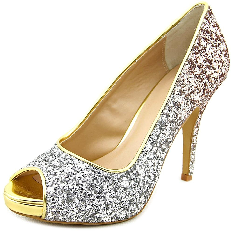 Thalia Sodi Womens Cereza Peep Toe Classic Pumps Silver/Gold Glitter Size 9.5
