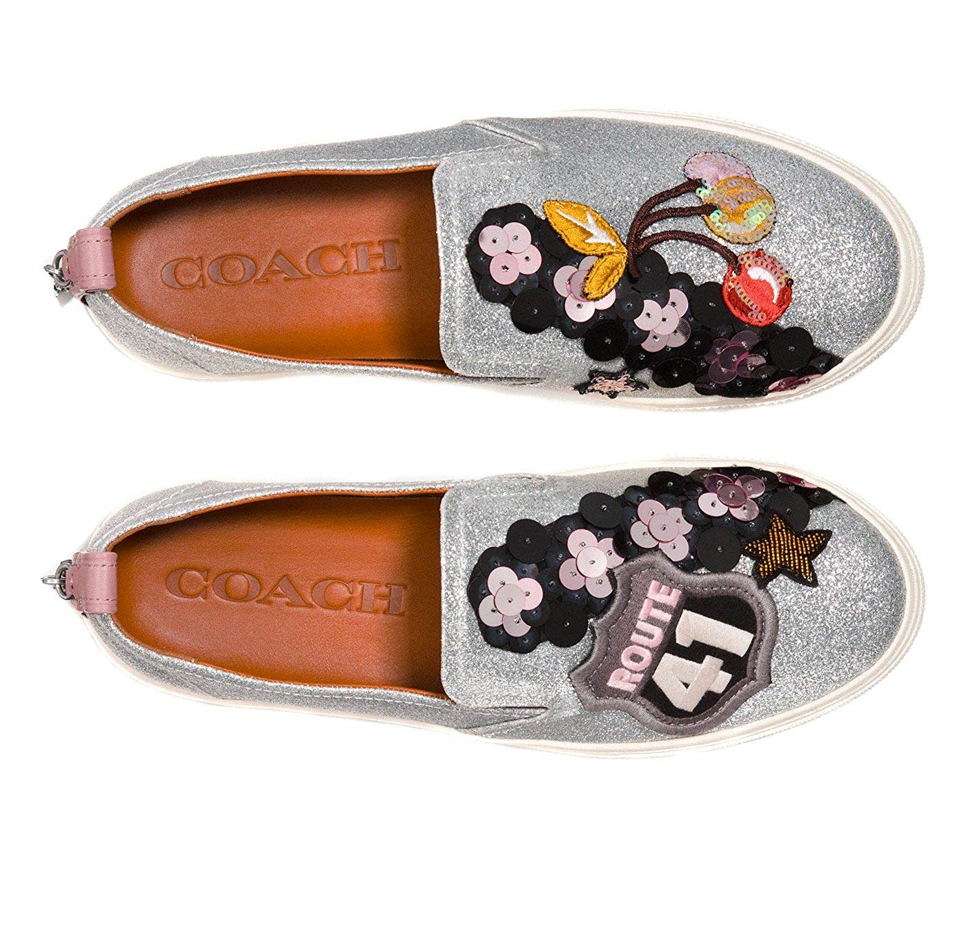 d83cb5b7 Details about Coach Women's Slip on Shoes Sneakers with Cherry Patches
