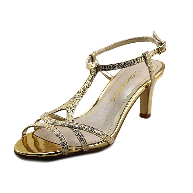 Caparros Womens Bonita Open Toe Special Occasion TStrap Gold Lizard Size 75