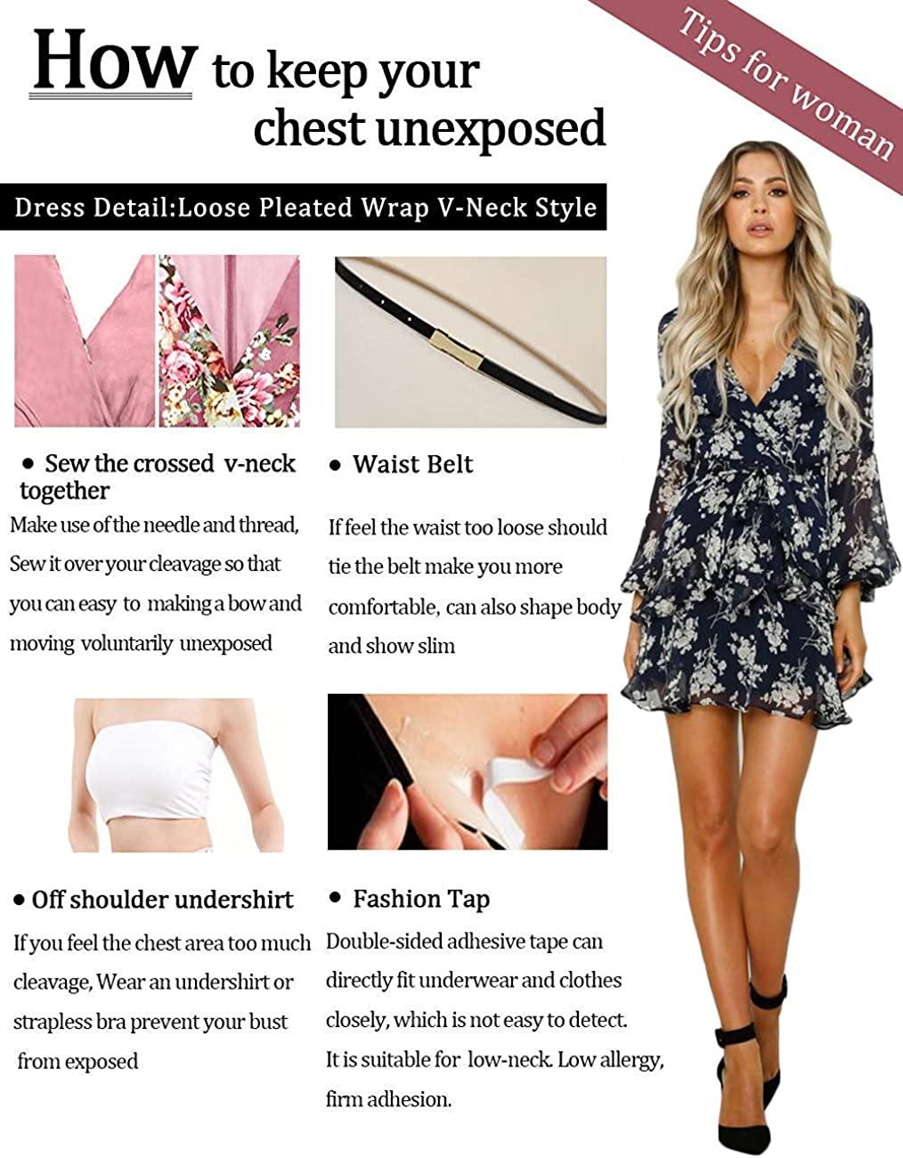 Women/'s Ruffled Lace Mesh Long Sleeve Mini Dress Party V Neck Swing Dresses US