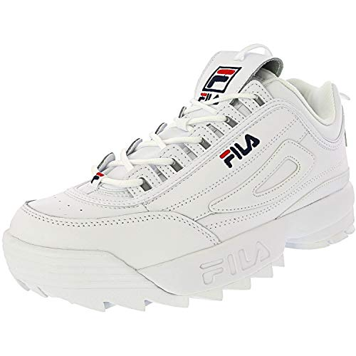 Details about Fila Mens Disruptor II Premium Low Top Lace Up Fashion, WhiteNavyRed, Size 9.5