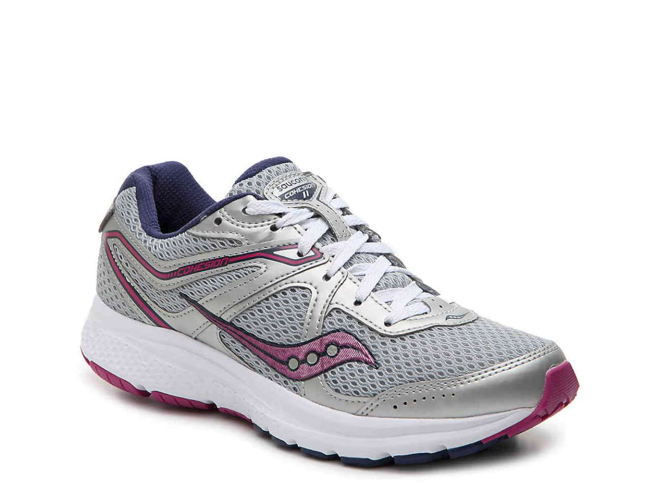 Saucony Womens grid cohesion 11 Low Top Lace Up Running Sneaker Grey Size 7.5