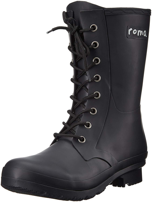 Roma Boots Women S Epaga Short Lace Up Rain Boots Black