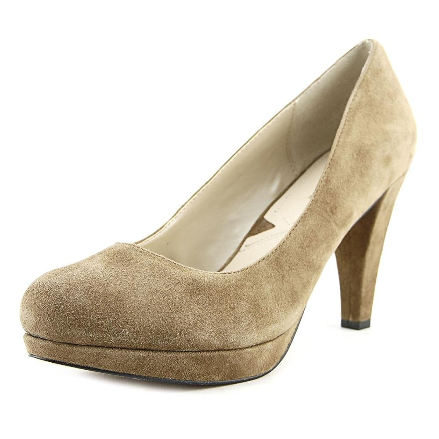 Adrienne Closed Vittadini Womens Prestin Leather Closed Adrienne Toe Taupe Kidsuede Size 8.5 1 63393f