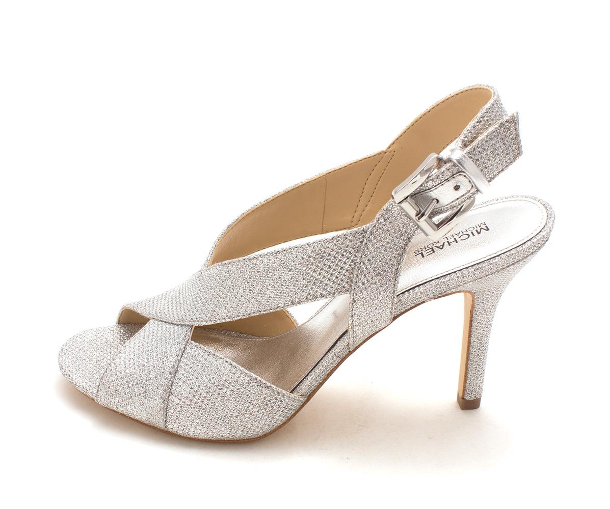 8b1d68f06a4d Michael Michael Kors Becky Womens Heeled Sandals White Silver Silver ...